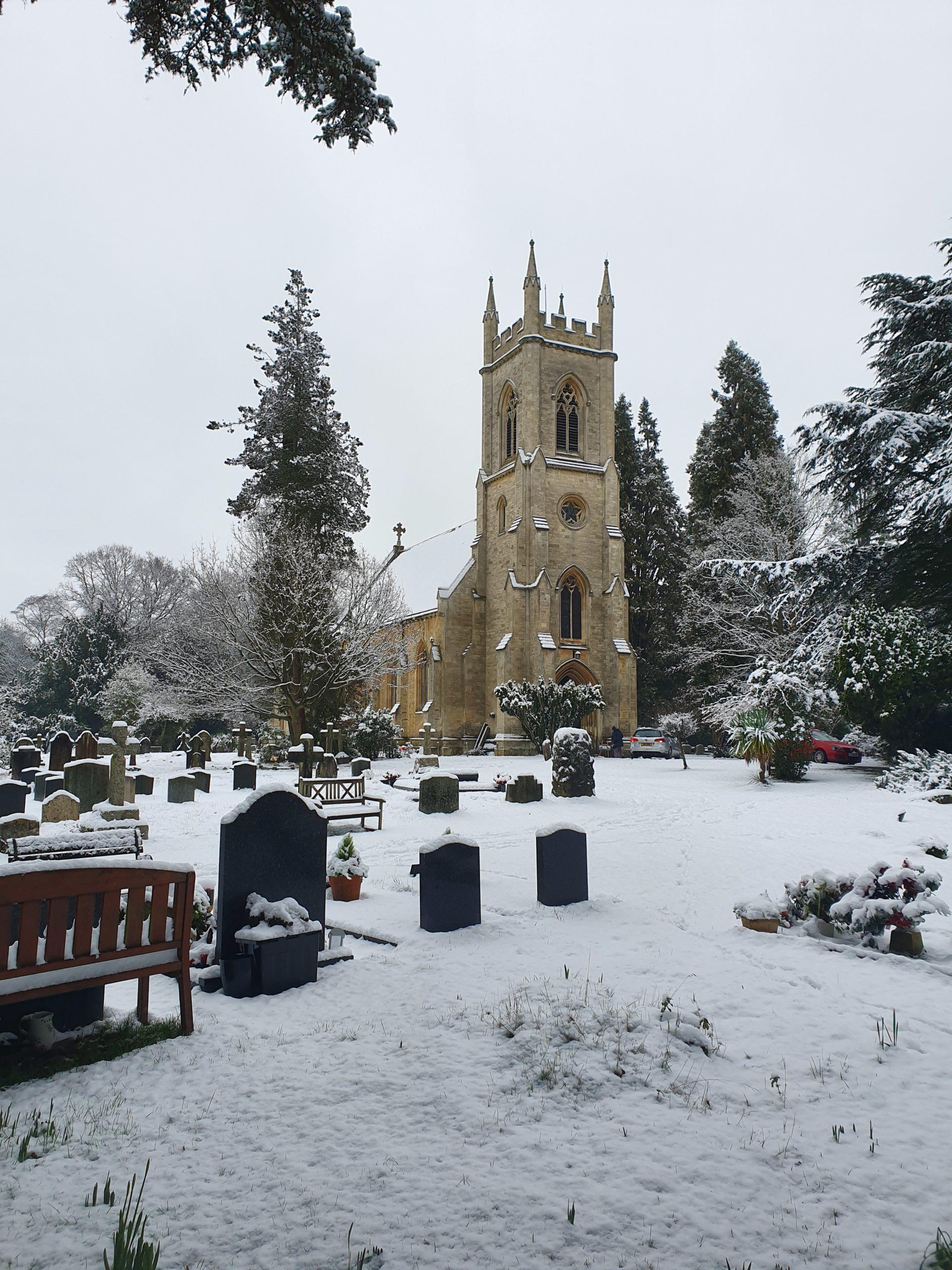 Snow at St. Catherine's Church, Sindlesham