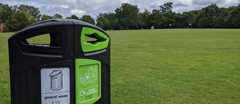Recycling Bin on Bearwood Recreation Ground